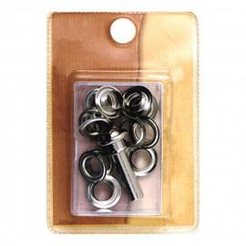 10 petits oeillets 10mm et outil couleur bronze
