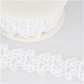 Bobine 9m Broderie perle/paillette Blanc 55 mm