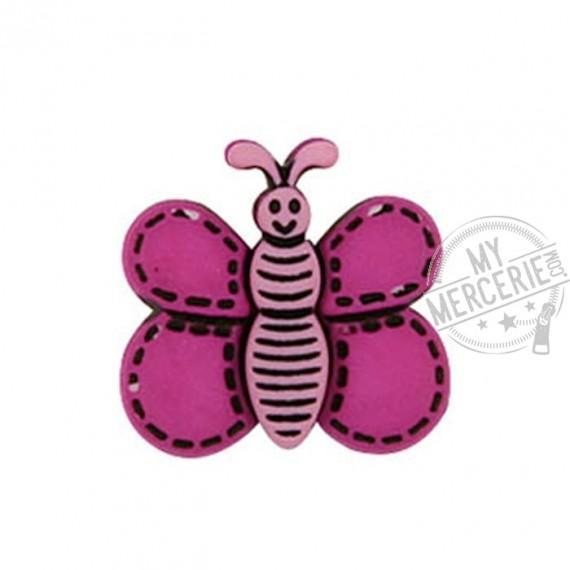 Bouton Papillon couleur Fuchsia