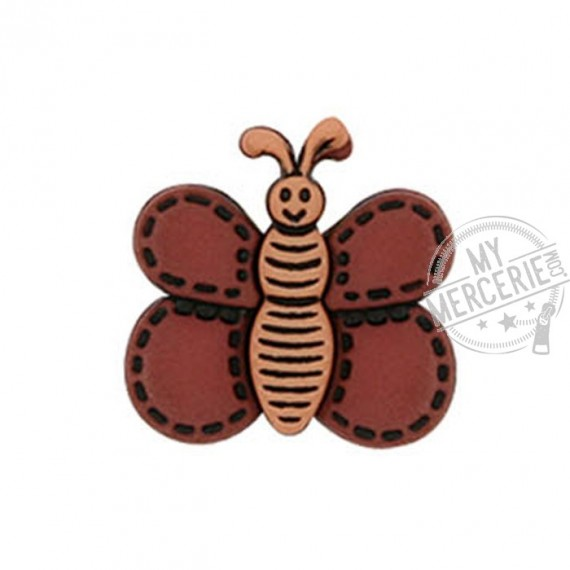 Bouton Papillon couleur Noisette