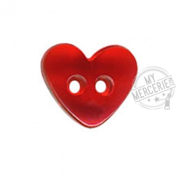 Bouton Coeur translucide couleur Rouge