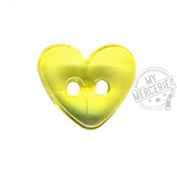 Bouton Coeur translucide couleur Anis