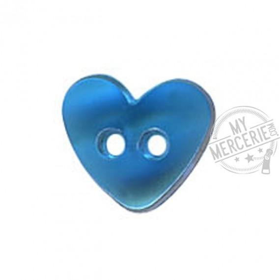 Bouton Coeur translucide couleur Bleu