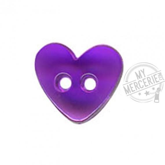Bouton Coeur translucide couleur Mauvre