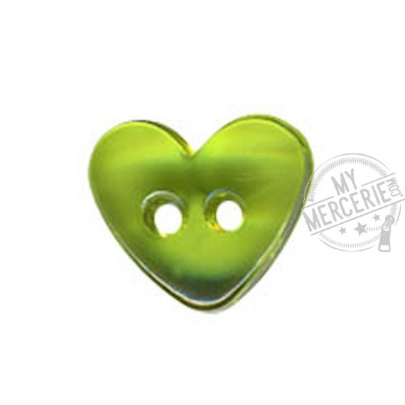 Bouton Coeur translucide couleur Vert