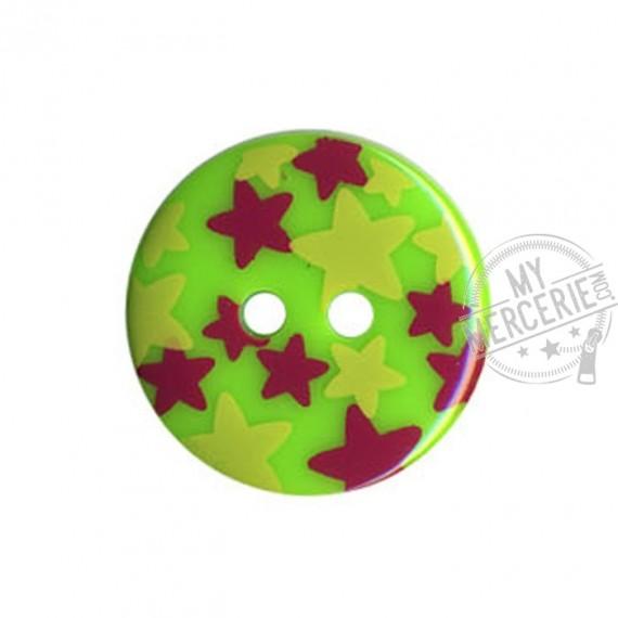 Bouton rond motif Etoiles couleur Vert