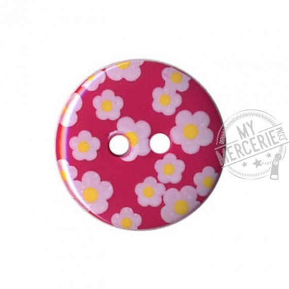 Bouton rond motif Fleur couleur Orchidée