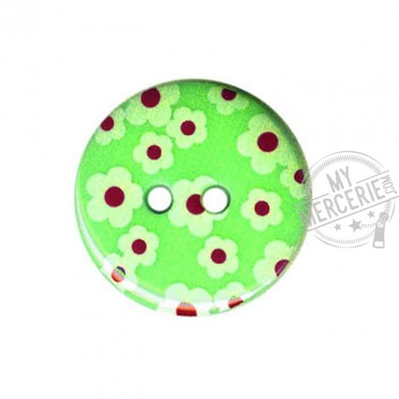 Bouton rond motif Fleur couleur Vert