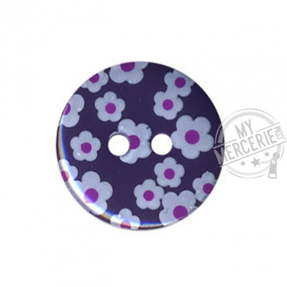 Bouton rond motif Fleur couleur Prune