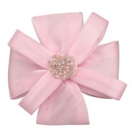 Broche fleur paillettée rose avec perles et strass