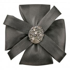 Broche fleur paillettée argent avec perles et strass