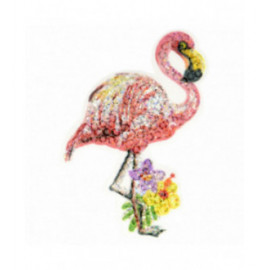 Lot de 3 écussons thermocollants à sequins flamant rose 7 cm x 5,5 cm