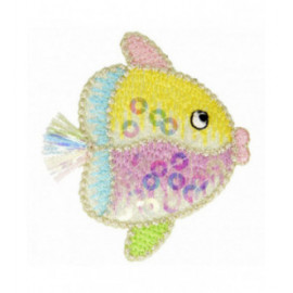 Lot de 3 écussons thermocollants à sequins poisson clown multicolore 4,5 cm x 5 cm