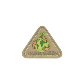 Ecusson thermocollant triangle THINK GREEN beige 4x6cm