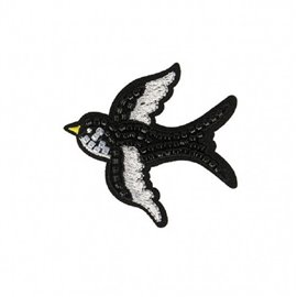 Ecusson thermocollant oiseau perles 6x5cm