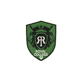 Ecusson thermocollant royal college gris/vert 4,6cm x 6cm