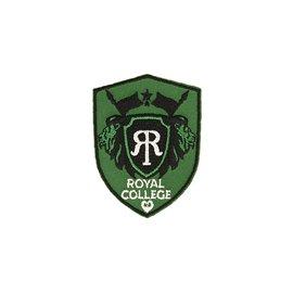 Ecusson thermocollant royal college gris/vert 4,6cm x 6cm