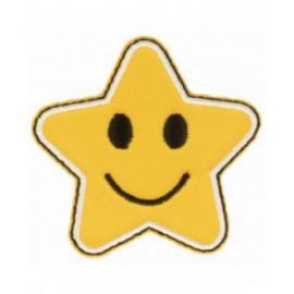 Lot de 3 écussons thermocollants étoile jaune sourire 5 cm x 5 cm