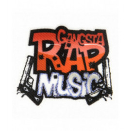 Lot de 3 écussons thermocollants musique gangsta rap 3,5 cm x 5 cm