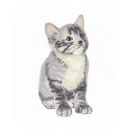 Lot de 3 écussons thermocollants chat gris 3 cm x 6 cm