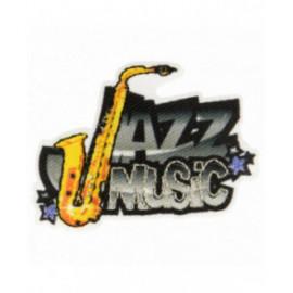 Lot de 3 écussons thermocollants musique jazz 3,5 cm x 5 cm