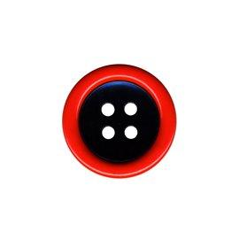 Bouton clown 2 éléments 4trous 48mm Rouge/Noir
