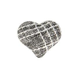 Bouton coeur tissus 22mm noir