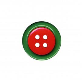 Lot de 6 Boutons clown 2 éléments 4trous 48mm Vert/Rouge