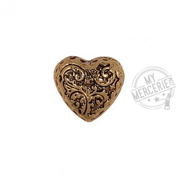 Bouton Coeur métal Or en taille 15