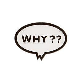 "Broche ""WHY"" 38x27mm blanc"