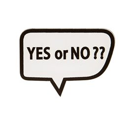 "Broche ""YES OR NO?""43x30mm blanc"