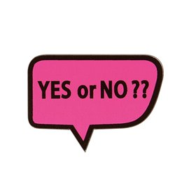 "Broche ""YES OR NO?""43x30mm fuchsia"