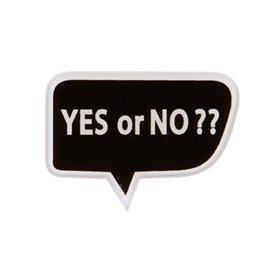 "Broche ""YES OR NO?""43x30mm noir"