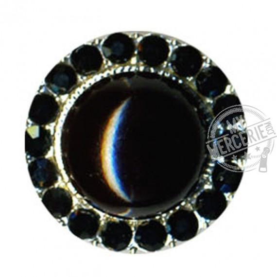 Bouton perle et strass noir