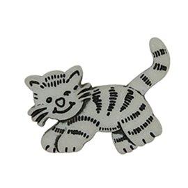 Lot de 6 boutons à queue chat tigre 23mm Gris