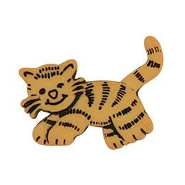 Lot de 6 boutons à queue chat tigre 23mm Jaune