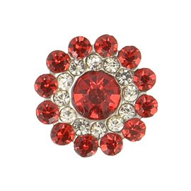 Lot de 6 boutons strass 13mm rouge
