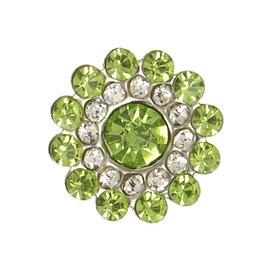 Lot de 6 boutons strass 13mm vert