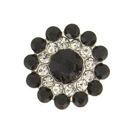Lot de 6 boutons strass 13mm noir