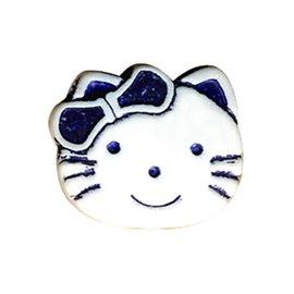 Lot de 6 boutons enfant kitty 19mm marine
