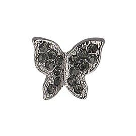 Lot de 6 boutons papillon strass 13mm