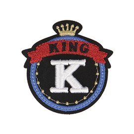 Lot de 3 écussons thermocollants badge royal K King 5cm