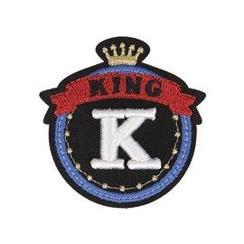 Lot de 3 écussons thermocollants badge royal K King 5cm