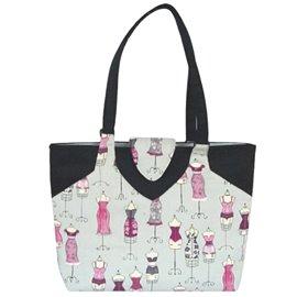 Sac couture/tricot 35cmx11cmx38cm couture gris et rose