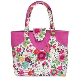 Sac couture/tricot 35cmx11cmx38cm fleuri rose