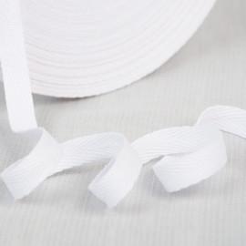 Bobine 45 mètres de sergé coton blanc 11mm