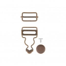 2 boucles salopette 25mm couleur bronze
