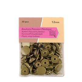 Lot de 30 boutons pression 100% plastique couleur bronze