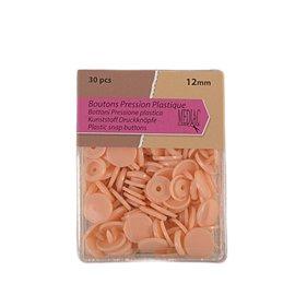 Lot de 30 boutons pression 100% plastique couleur Saumon