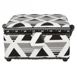 Petite boîte à couture carrée L20xH11cm triangles gris